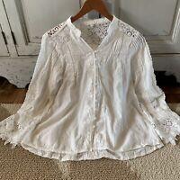 L Boho Battenburg White Lace Long Sleeve Blouse Vtg 70s Insp Top Womens LARGE
