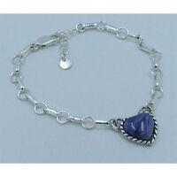 GORGEOUS PETITE 925 Sterling Silver Purple Charoite Heart Charm Chain Bracelet