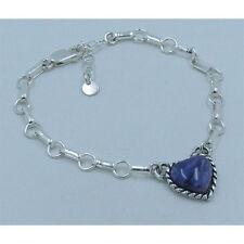 GORGEOUS PETITE 925 Sterling Silver Purple Charoite Heart Charm Chain Bracelet