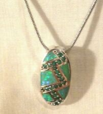 "beautiful & stunning emerald & green fire opal 1"" necklace includes 17"" chain"