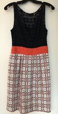 MILLY Size 4- Navy Orange Tweed Sheath, Lace Dress Sleeveless Made in USA