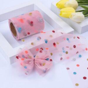 10Yards Diy Hair Materials Gifts Box Packing Bronzing Powder Dot Organza Ribbo