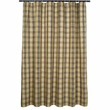 country cabin primitive farmhouse Cottonwood Black plaid FABRIC Shower Curtain