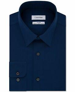 Calvin Klein Mens Dress Shirt Blue Size 17 XL Steel+ Stretch Button Down $79 015