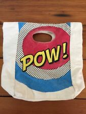 Fluf Superhero Cartoon Pow Pop Art Organic Cotton Insulated Snap Lunch Box Bag