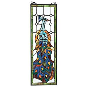 """TF27226 Pleasant Peacock Stained Glass Window - 7"""" x 21"""" New!"""