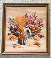 Vintage 1970s Picture Crewel Embroidered Seashell Framed Wall Hanging 70s Pink
