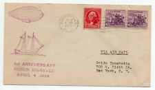 1934 USA AKRON ZEPPELIN DISASTER ANNIVERSARY COVER, VIOLET CANCELS !!