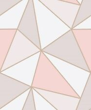 Fine Decor Papel Tapiz De Oro Rosa Geométrico Apex FD41993. triángulos Abstracto