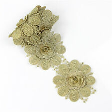 1 Yard Gold Lace Embroidered Edge Trim Applique for Costume Sewing Craft DIY