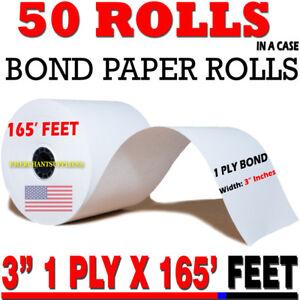 "3"" X 165' BOND KITCHEN PRINTER/CASH REGISTER/RECEIPT TAPE PAPER - 50 ROLLS/BOX"