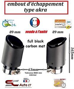 Embout d'échappement universel type akra full black mat entrée 63,sortie 89 mm