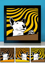 Bulli 2 - Bullterrier Bull Terrier Retro Bilder Pop Art 3er-Set Bully Wanddeko