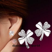 Mujer elegante elegante Chapado en Plata Lucky 4-leaf amor Ear Stud pendientes