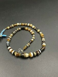 Old Antique Himalayan Prayer Mala Banded Agate Beads from Tibet