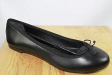 AUTH YSL Saint Laurent Women Black Leather Flat Ballet Shoes 37