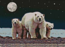 "Polar Bear & Cubs Counted Cross Stitch Kit 10"" x 7"" 25.6cm x 18.3cm A2135"