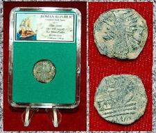 Ancient Roman Republic Bronze Coin Galley on Obverse Male Bust on Reverse