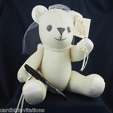 Signature Bear 35cm BRIDE Wedding Keepsake Ivory Guests Autographs Jointed  New