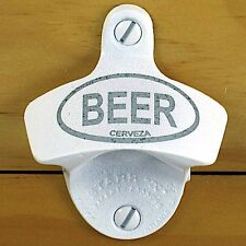 White BEER Cerveza Starr X Wall Mount Bottle Opener, Powder Coated Engraved, NEW