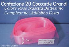 COCCARDE SVELTOSTRIP ROSA 20 PZ 5 cm FIOCCO NASCITA BATTESIMO COMPLEANNO FESTA