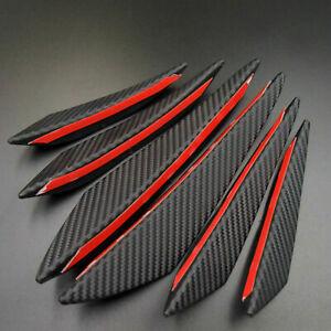 6pcs Carbon Fiber Car Front Bumper Fin Canard Splitter Diffuser Spoiler Lip