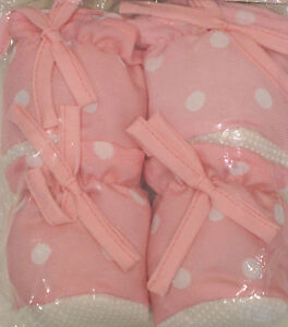 Set of 4 Padded Chair Table Leg Foot Covers Floor Protectors Pink White Spot NEW