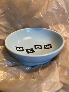 Whisker City Cat Pet Bowl Dish Blue Masculine