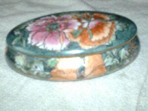 H.F.P.Macau hand made lidded bowl 17 cm long 11 cm wide 7 cm high