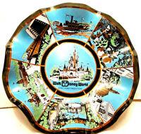 Vintage Walt Disney World Scalloped Candy Dish/Ash Tray/Plate Glass 1970's