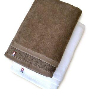 X2 Japanese IMABARI Bath Towel Cotton 100% 120 x 60cm Made in JAPAN White Brown