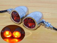 Chrome Motorcycle Turn Signal Bullet Blinker RED Indicator Lights chooper Harley