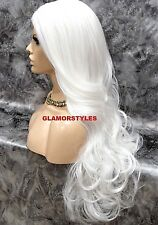 Human Hair Blend Lace Front Full Wig Long Wavy Layered White Heat Ok Hair Piece