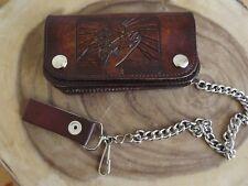 Rustic Genuine Leather Biker Wallet W/ Chain Brown Bi-Fold Trucker Wallet Fish