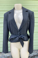 NWT ZARA Gray BELTED BLAZER WITH SHOULDER PADS Cropped Long Sleeve Size S  5909