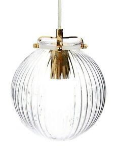 Laura Ashley Elouisa French Gold Ribbed Globe Pendant