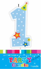 1ST BIRTHDAY BLUE CANDLE BABY BOY STARS NUMBER ONE FIRST CAKE TOPPER DECORATION