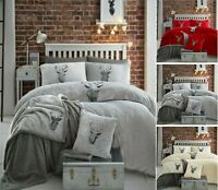 STAG HEAD EMBROIDER TEDDY FLEECE SHERPA  DUVET COVER PILLOWCASE BED SET ALL SIZE