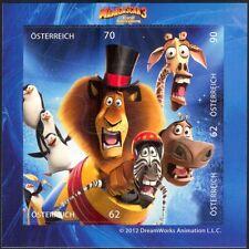 """Austria 2012 """"Madagascar 3""""/Penguins/Lion/Zebra/Films/Movies 4v m/s (at1046b)"""