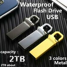 USB CLIP KEY RING 2TB MEMORY CARD Flash Drive SILVER CHROME  - ( 1TB x 512GB )