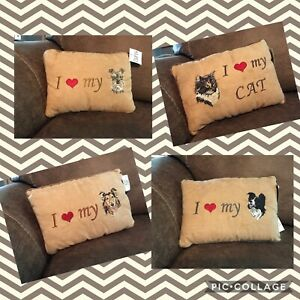 """Pawfect Gifts Plush Pillow I LOVE MY """"PET"""" Multiple Breeds Cats Dogs 25% OFF 2+"""