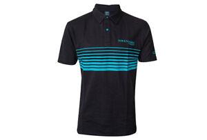 Drennan Match Fishing Clothing Range - Black & Aqua Lines Polo Shirt - All Sizes