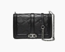NWT Rebecca Minkoff LOVE Crossbody Bag BLACK Embossed Leather $295 AUTHENTIC~~
