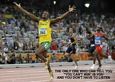 USAIN BOLT INSPIRATIONAL / MOTIVATIONAL QUOTE POSTER A3 260GSM