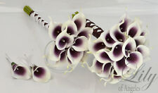4 pieces Wedding Bridal Bouquet Picasso Calla Lily Flowers PURPLE PLUM EGGPLANT