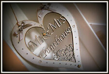 MR AND MRS Personalised Hanging Heart. Wedding Anniversary Gift Bride and Groom