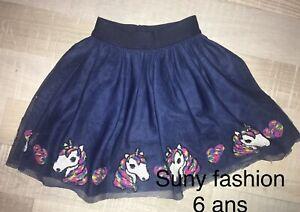 Suny Fashion 6 Ans Fille : Jupe Été Voile Sequins Licorne TBE
