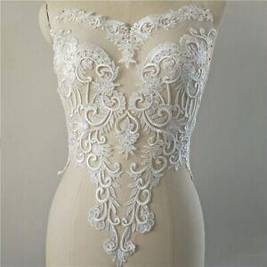Sequined Floral Bridal Embroidery Applique Wedding Gown Motif Lace DIY Trim 1 PC