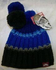 NEW Rare SPACECRAFT Blue & Black Ombre Knit Winter Ski Beanie TRIPLE POM Hat Cap