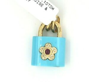 18K Yellow Gold Turquoise Lock Ruby Diamond Charm for Bracelet or Pendant